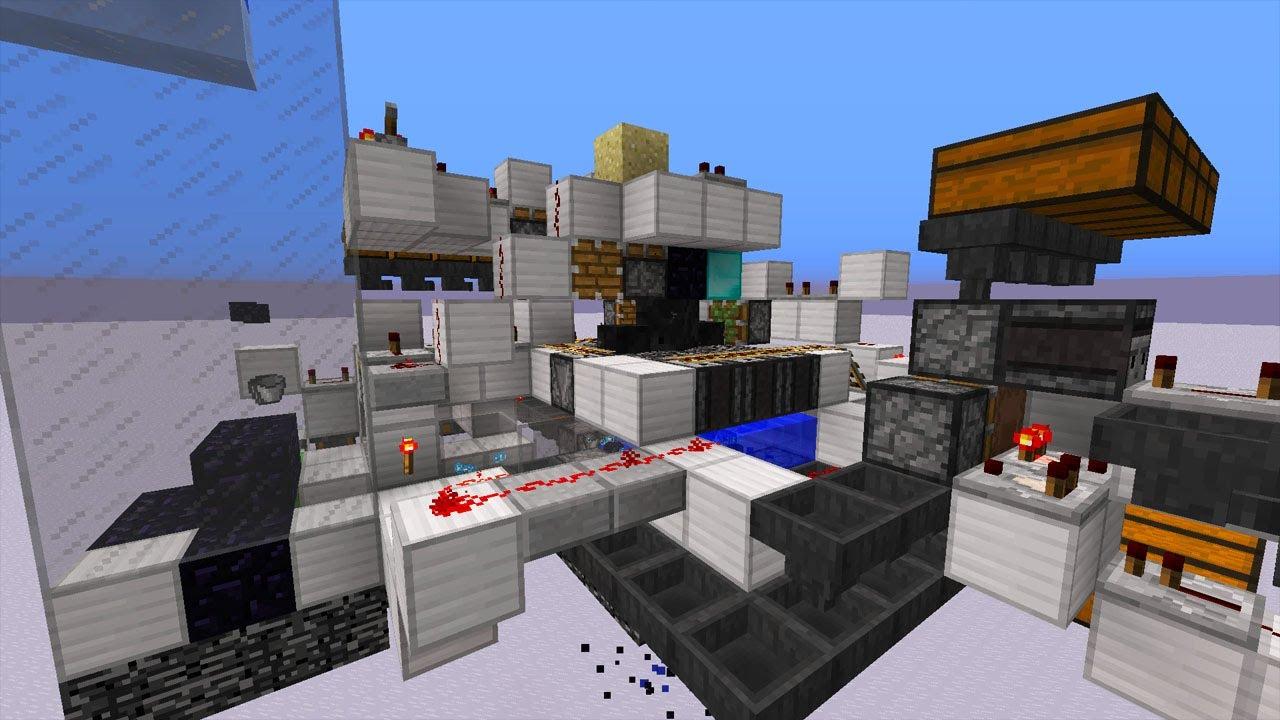 Halbautomatische Redstone Obsidianfarm In Minecraft - Minecraft redstone hauser bauen