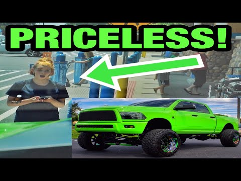 HILARIOUS REACTIONS To a MASSIVE LIME GREEN Dodge Cummins