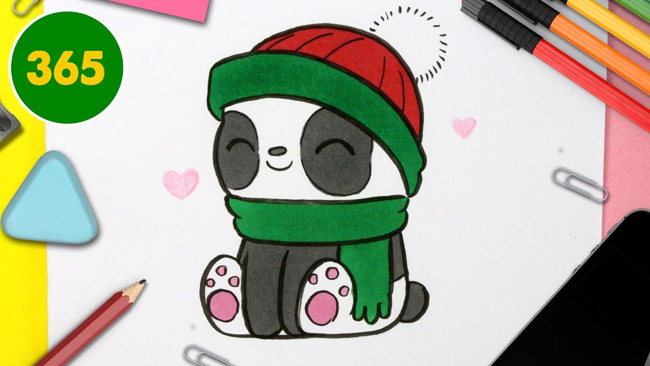 Comment Dessiner Panda Noël Kawaii étape Par étape Dessins Kawaii Facile