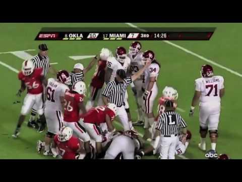 Miami Hurricanes - Brandon Harris sacks Oklahoma quarterback.mov