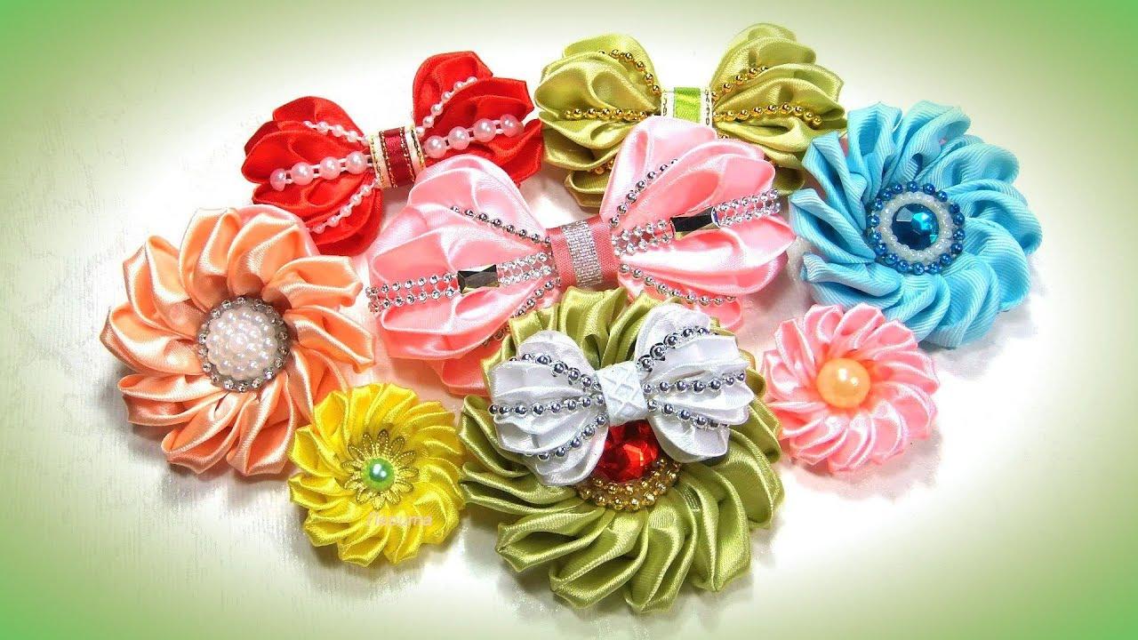 Цветы из бантиков