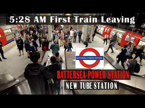 New Battersea Power Station - 5:28 AM First Train Leaving | London underground [4K]