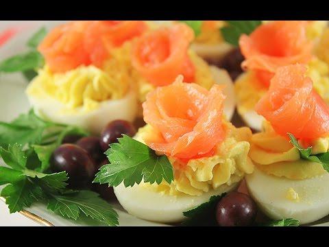 Яйца Фаршированные Сыром и Лососем. Праздничная Закуска