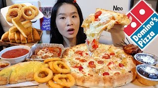 ULTIMATE DOMINO'S FEAST!! Creamy Alfredo Pizza, Cheesy Breadsticks | Mukbang w Asmr Eating Sounds
