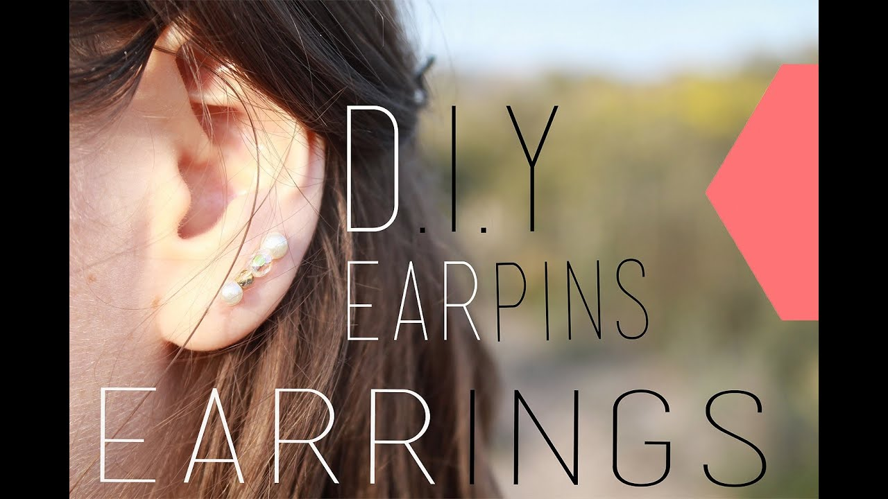 Diy boucles d 39 oreilles ear pins ear cuff ear pins earrings english subs youtube - Boucle d oreille diy ...