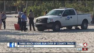 3 beachgoers at park run over by county truck