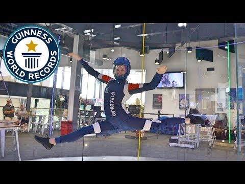 Most front split spins in a wind tunnel in one minute – Guinness World Records Day 2018