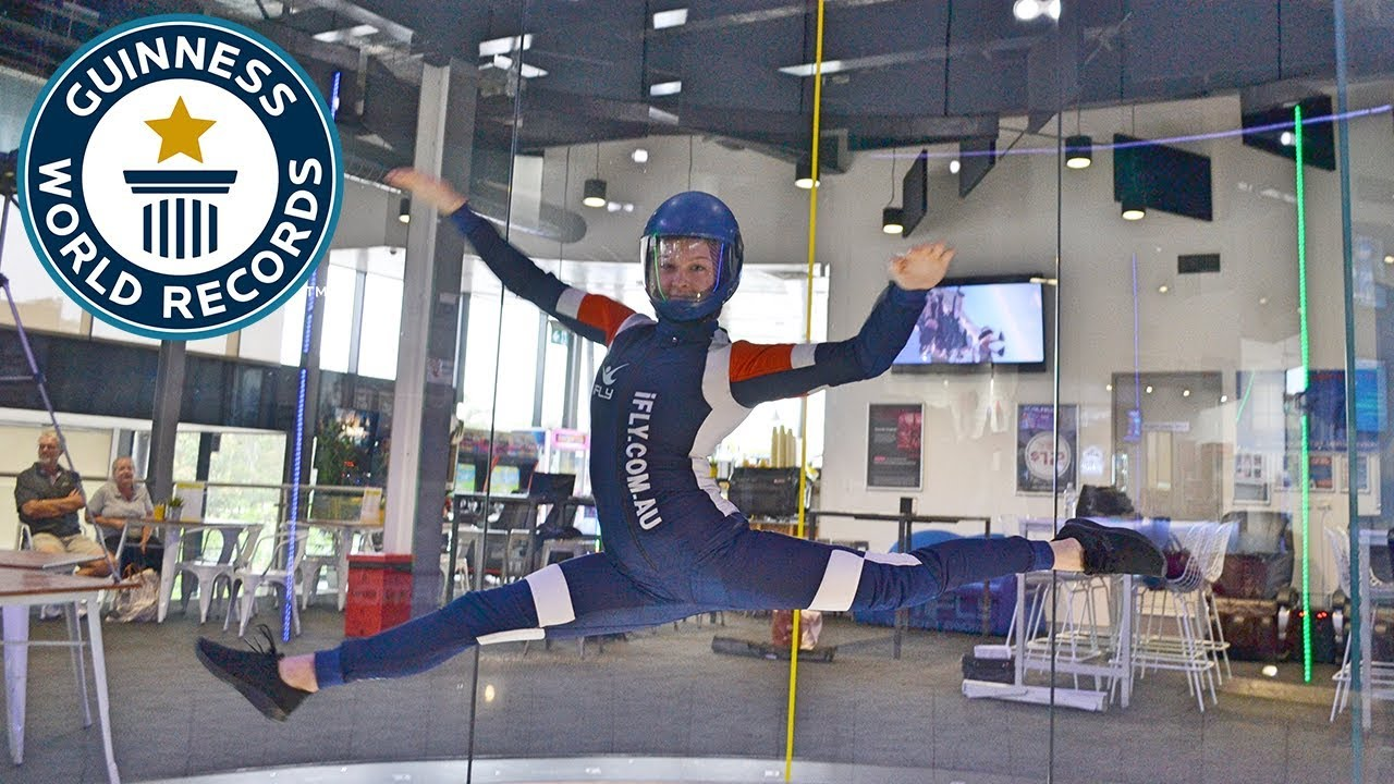 Most front split spins in a wind tunnel in one minute - Guinness World Records Day 2018