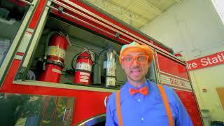 funny and educational Blippi Explores Fire Trucks for Children   Blippi Fire Truck Song