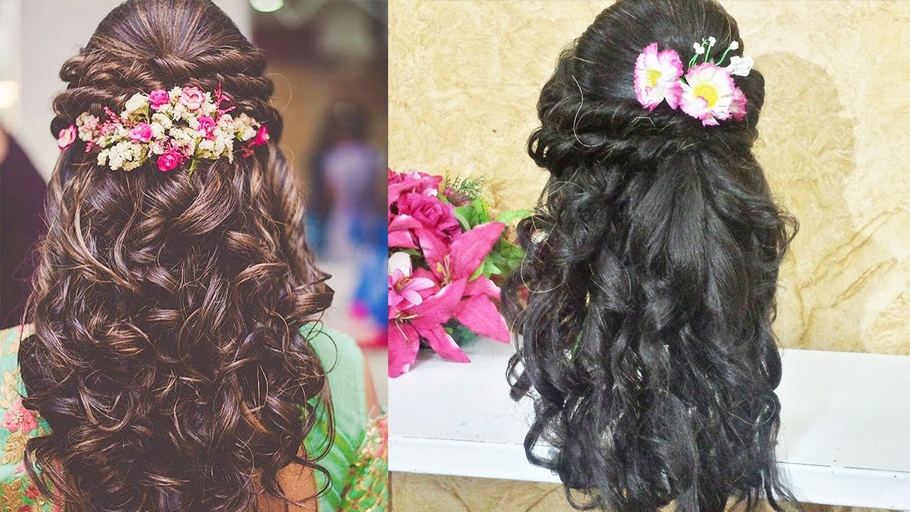 curly prom hairstyle for long medium hair 🌟indian wedding hairstyle