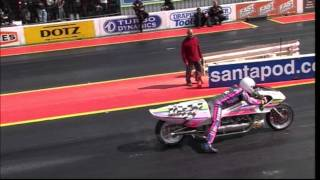 Santa Pod Rocket Bike Fastest Thing On Two Wheels In The World Ridden By Eric Teboul.