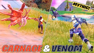 *NEW* Venom & Carฑage Mythic Symbiote Weapons Gameplay! (How to Find) Fortnite Season 8