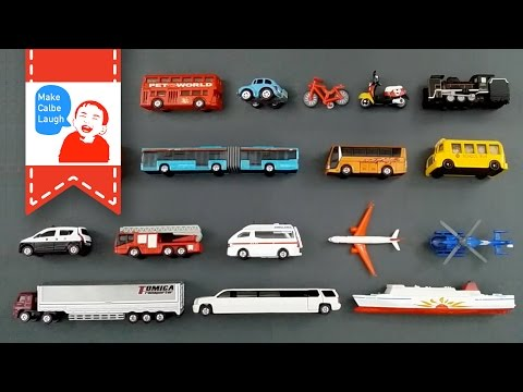 Thumbnail: Learning Street Vehicles Names and Sounds for kids with tomica 2015 Cars and Trucks
