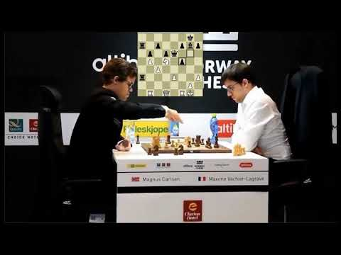Magical Knight Endgame!!! Magnus Carlsen Vs Maxime Vachier-Lagrave - Blitz Chess 2017 Norway