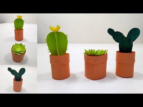How to Make Mini Cactus Craft Plants /Miniature Paper Cactus  making Ideas / DIY Mini Cactus plants