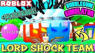 BLOWING 340k PER BUBBLE WITH OP LORD SHOCK TEAM BUBBLEGUM SIMULATOR (Roblox) - Avec PHMittens