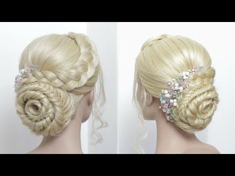 Braid Rosette Bun Updo For Long Hair