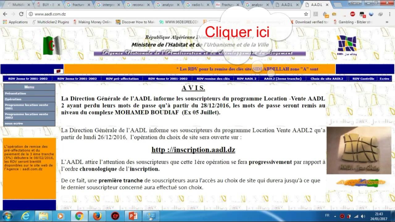 ordre de versement aadl 2013