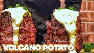 Grilled Volcano Potatoes - Bacon Wrapped Twice Baked Potatoes