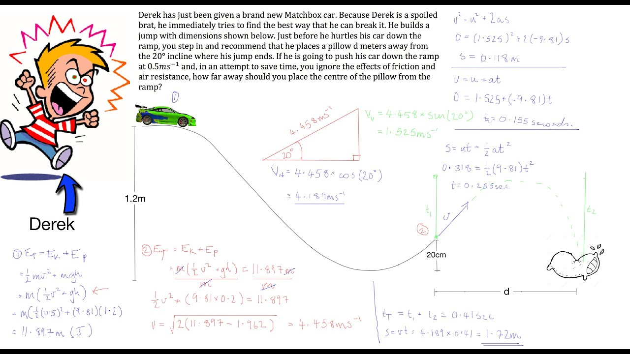 Projectile Motion Law Of Conservation Of Energy Example Youtube