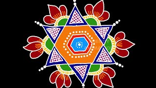 Very simple and awesome rangoli design with 7*4dots | Rangoli designs | muggulu | Trendyanimation |