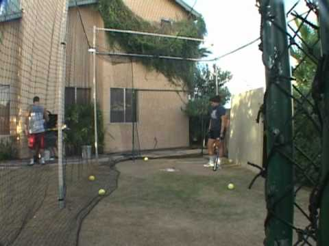 Batting In My Backyard Batting Cage From The Right Side