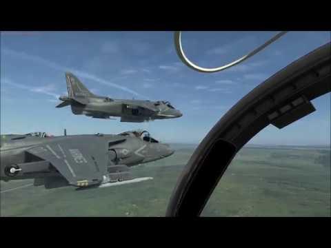 Razbam's DCS AV-8B Harrier 2, in 6 ship close formation, track replay