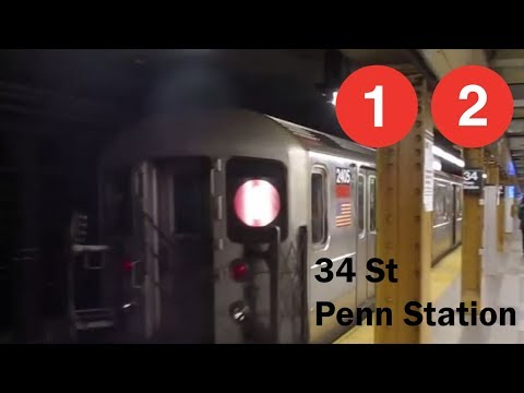 NYC Subway: R62A & R142 1 and 2 Trains at 34th St-Penn Station