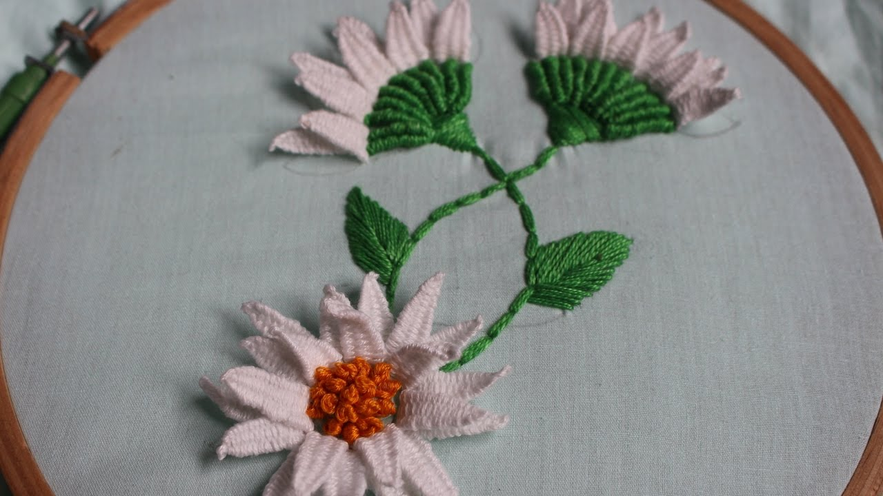 Hand embroidery designs picot stitch and flower