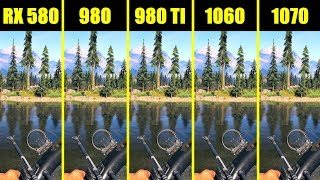 Far Cry 5 1070 Vs 980 TI Vs 1060 Vs 980 Vs AMD RX 580 Frame Rate Comparison