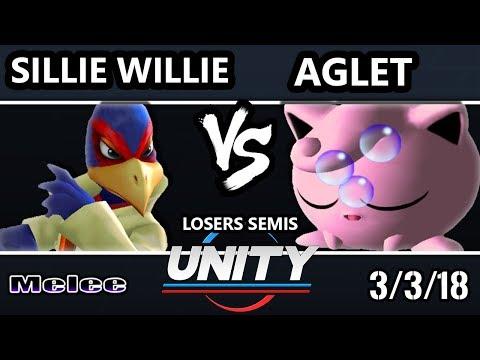 Unity 19 - Sillie Willie (Falco) Vs. Aglet (Jigglypuff) - SSBM Losers Semis - Smash Melee