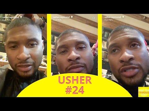 Usher getting a haircut - snapchat - december 3 2016