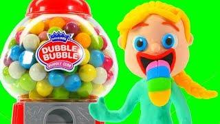 SUPERHERO BABIES PLAY WITH A GUMBALL MACHINE ❤ Spiderman, Hulk & Frozen Play Doh Cartoons For Kids