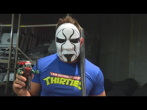 TMNT WWE Ninja Superstars Raphael as Sting action figure unboxing with Zack Ryder