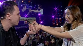 Girl shoots magician in face with BB Gun