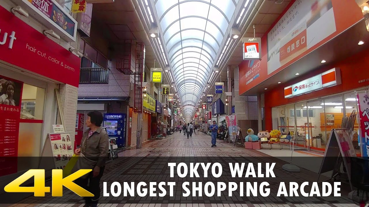 Walking Tokyo - Palm Shopping Street, the Longest Arcade in Japan. 4K