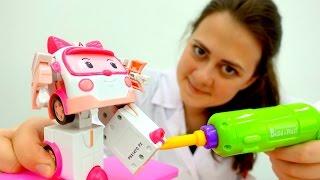 #ВидеоДляДетей - Играем в доктора! Лечим #игрушки Барби, Робокар Эмбер и Олаф! #Мультики про игрушки