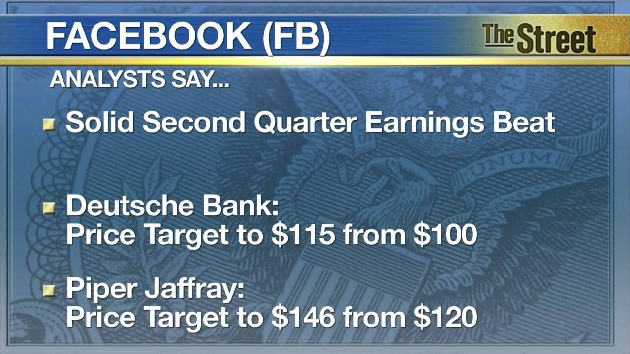 Facebook Post-Earnings Target Prices