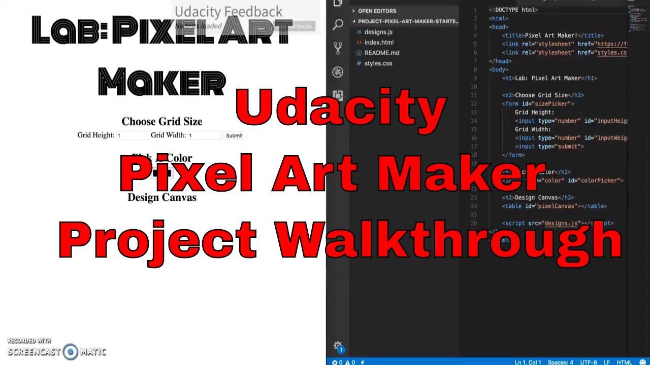 Udacity - Pixel Art Maker Project Walkthrough - jQuery