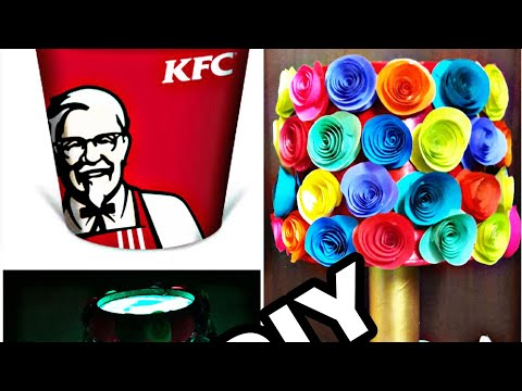 Awsome way to make bedlamp /bedlamp with KFC bucket/best out of waste/lamp with kfc disposal bucket