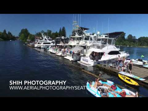 Opening Boating Day Seattle 2016 Log Boom Drone Aerial Fly by..... The Great Escape...