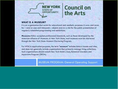 NYSCA Guidelines Seminar:  Museum Program General Operating Support