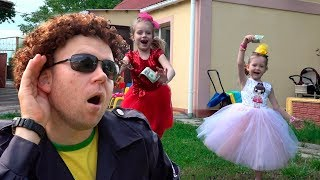 Nastya Play and Margo playing toys sale | Going to a party