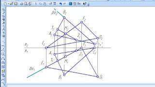 Построение линии пересечения двух треугольников