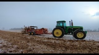 3 John Deere Tractors Hauling Manure near West Alexandria Ohio