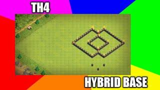 Clash of Clans Town hall 4 Defense (CoC TH4) BEST Hybrid Base Layout Farming/War/ Trophy base 2017