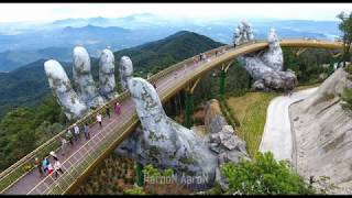 Breathtaking Golden bridge on Ba Na Hills, Da Nang, Vietnam