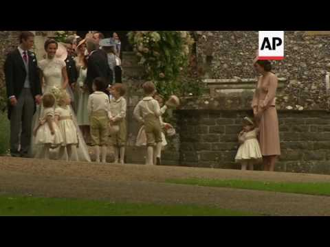 Pippa Middleton led out of church by Prince George and Princess Charlotte