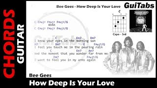 Bee Gees - How Deep Is Your Love ( Lyrics and GuiTar Chords ) 🎸