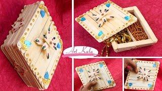 How to Make jewelry box | popsicle stick crafts | DIY | Artkala